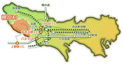 中央道からの地図